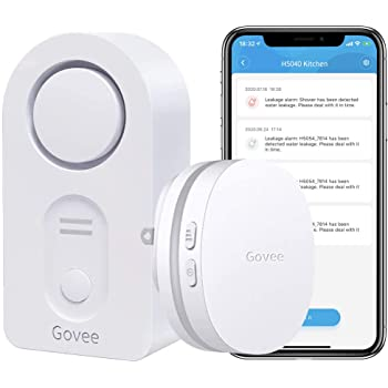 Govee WiFi Water Leak Detector, Smart APP Leak Alert, Wireless Water Sensor and Alarm with Email, Notification, App Alerts, Remote Monitor Leak for Home Security Basement - Doesn't Support 5G WiFi