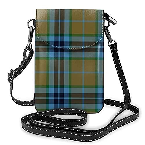 Bolso ligero de cuero de la PU pequeño bolso de Crossbody Mini bolsa de teléfono celular bolsa de hombro con correa ajustable Thomson Thompson Mactavish Caza Tartan Oliveblue