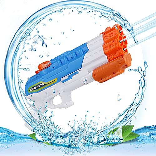 FORMIZON Pistola de Agua, Capacidad 1100ML Pistolas Juguetes Agua, Pistola de Agua Grande con un Alcance de 8-10M, para Al Aire Libre Fiestas Juguetes de Verano para Piscina