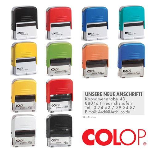 Colop Printer Stempel Compact Verschiedene TINTENFARBEN (30) mit individueller Textplatte/Logo