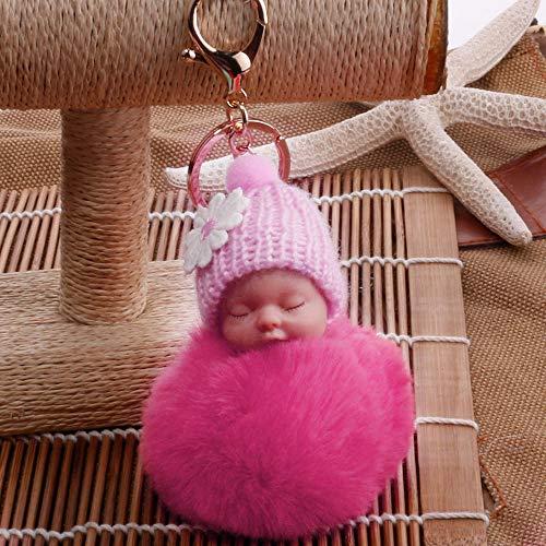 Janly Clearance Sale Llaveros para mujer, lindos pompones esponjosos de piel para bebé durmiendo, llaveros para bolsos, colgantes, joyas y relojes para Navidad, día de San Valentín (rojo sandía)