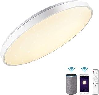 comprar comparacion Lámpara de techo WiFi compatible con Amazon Alexa y Google Home 24 W, diámetro 40 cm, cielo estrellado, regulable, blanco ...