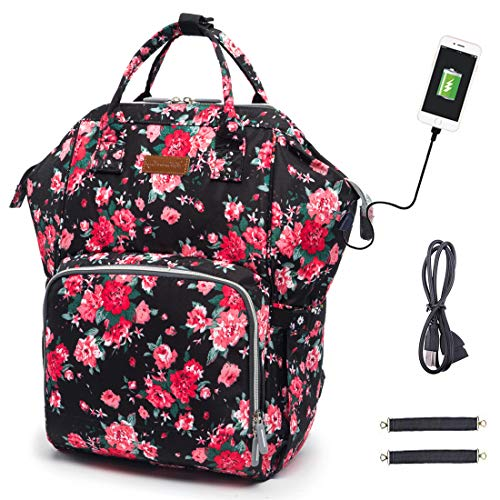 Diaper Bag Backpack, hopopower Diaper Bag with USB Charging Port for Mom & Dad, Large Multifunction Baby Nappy Changing Bags,Waterproof & Stylish, Floral