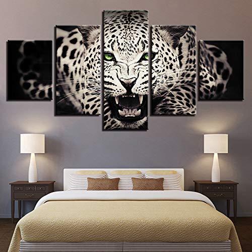 KINYNE 5 Piezas Animal Cuadro Sobre Lienzo Arte Moderno Hogar Decoración De Pared Pintura De La Fauna - Leopardo Manchado con Ojos Verdes,A,20X35x2+20X45x2+20X55x1