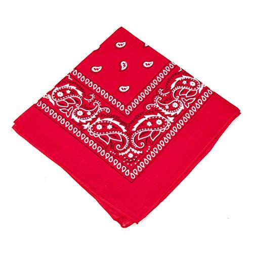 Boolavard 100% Baumwolle, Paisley Bandana Bandana Headwear/Haar-Band-Schal-Ansatz-Handgelenk-Verpackungs-Band-Kopf-Bindung (Schwarz, Rot, Blau, Weiß, etc.) 60+ Stile (41# Red)