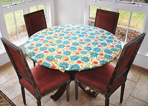 Covers For The Home Deluxe Elastic Edged Flannel Backed Vinyl Fitted Table Cover - Floral Pattern - Large Round - Fits Tables up to 45' - 56' Diameter