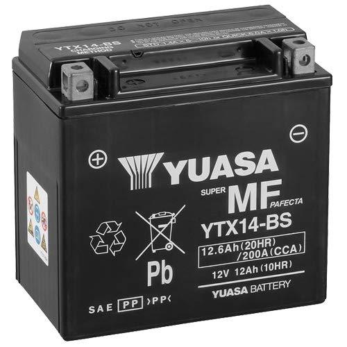 Batterie YUASA YTX14-BS (WC) AGM geschlossen, 12V|12Ah|CCA:200A (150x87x145mm) für Kawasaki ZZR1400 Baujahr 2007