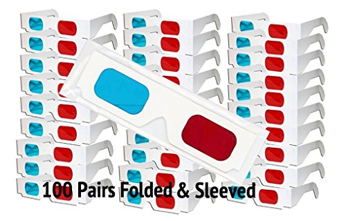 3D Red/Cyan Pro-Ana (TM) Anaglyph Cardboard Glasses - 100 Pair Folded - White Frame