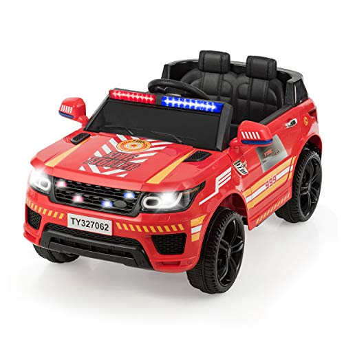 Read About Costzon Kids Ride on Car, 12V Battery Powered Electric Police Truck w/ 2.4G Remote Contro...
