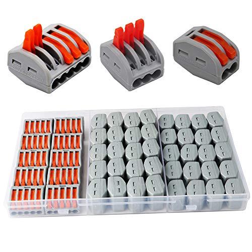 CESFONJER Terminales Conectores Reutilizables de conectores de tuercas de patillas Conectores de cables compactos de 50 piezas 2 orificios (20 piezas), 3 orificios (20 piezas), 5 orificios (10