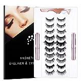 SENSIVO Magnetic Eyelashes With Eyeliner Kit | 10 Pairs Magnetic Eyelashes Kit & 2 Tubes of Waterproof Magnetic Eyeliner, [Upgraded 2021] Glue-free Natural Look False Eyelashes with Tweezers, Reusable