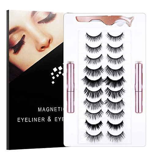 SENSIVO Magnetic Eyelashes With Eyeliner Kit | 10 Pairs Magnetic Eyelashes Kit & 2 Tubes of Waterproof Magnetic Eyeliner, [Upgraded 2021] Glue-free Natural Look False Eyelashes with Tweezers, Reusable