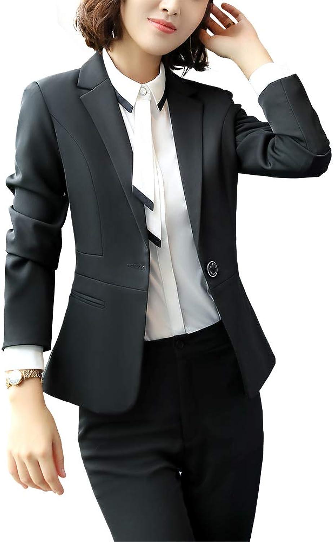 SUSIELADY Women Blazers Two Pieces Solid Work Office Lady Suit Formal Blazer Jacket Outwear Coat