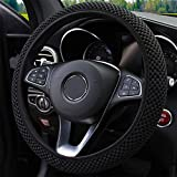 2016 Porsche Boxster Factory Wheels - Elastic Stretch Steering Wheel Cover, Universal 15 Inch Automotive Steering Wheel Cover, Microfiber Breathable Ice Silk, Anti-Slip, Odorless, Easy Carry,Warm in Winter and Cool in Summer (Black)