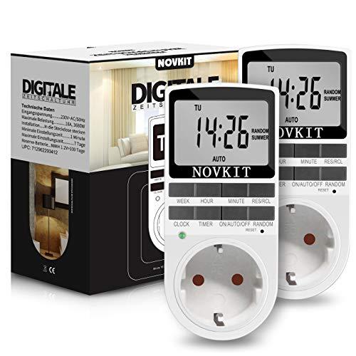 2x NOVKIT digitale Zeitschaltuhr Steckdose mit 10 konfigurierbaren wöchentlichen Programme und einbruchsicheren Zufallsfunktion für Innen (230V / 16A / 3680W)