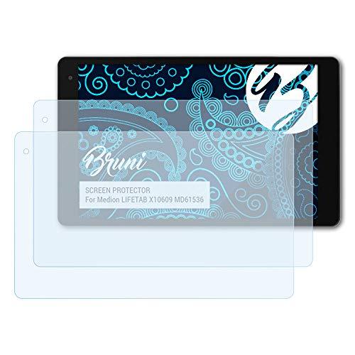 Bruni Schutzfolie kompatibel mit Medion LIFETAB X10609 MD61536 Folie, glasklare Bildschirmschutzfolie (2X)