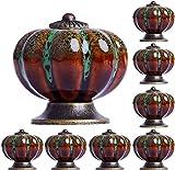 Juego de 8 pomos de cerámica vintage con diseño de calabaza, para armarios, cajones, armarios, armarios, cocinas, cocinas, baños, oficinas y más – con 3 tipos de tornillos (verde)