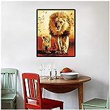 oioiu Nordische abstrakte Ölgemälde Löwenfamilie Malerei