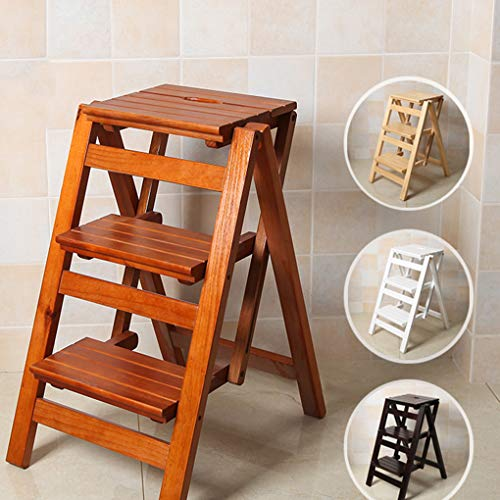 Folding Ladder Staircase Multi-Functional Folding Solid Wood Ladder Stool,Step Stool Household Muliti-Color Stool Step Ladder Foldable Stepladder,Black,Three