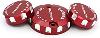 crazy sport For DUCATI Multistrada 1200/S 2010-2014 Front Brake Clutch & Rear Brake Reservoir Cover Cap Oil Tank Cup Motorcycle Accessories With Logo (Red)