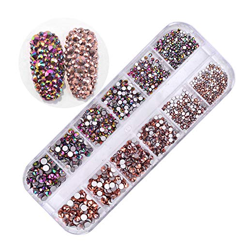 Amorar Nail Art Strass Stones Set Gemischte Nail Glitters Art Strass Nailart Maniküre Räder Diamant Glänzende DIY Strass Kristall Diamant Telefon Nail Art Dekoration EINWEG