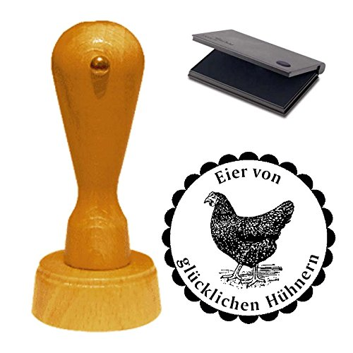 Stempel Eier von glücklichen Hühnern - Motivstempel schwarzes Huhn mit Kissen