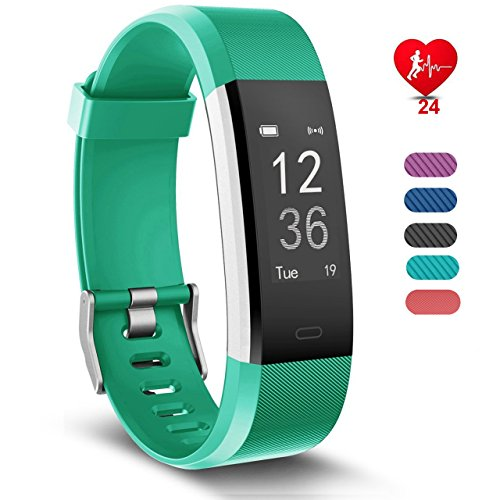 RobotsDeal Activity Monitoring Bracelet ID115plus, Heart Rate Monitor, 14 Exercise Modes, GPS Tracking, Route, Pedometer for Android or iOS Smartphones (Verde)