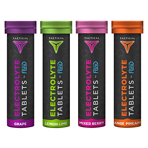 Fluid Tactical- Effervescent Hydration Tablets, Electrolyte Replacement & Dehydration Prevention, 4 Tubes (Variety)