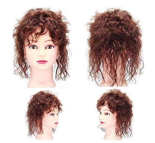 Damen-Haar-Topper, Echthaar, gewellt, gelockt, mit Clip in Krone, Haarteile für dünner werdendes Haar, gewellt, dunkelbraun