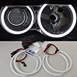 Csslyzl White 6500K Halo Rings Cotton Light SMD LED Angel Eyes Halo Rings For BMW E46 3 Series Non Projector (2X 146mm+2X 131mm)