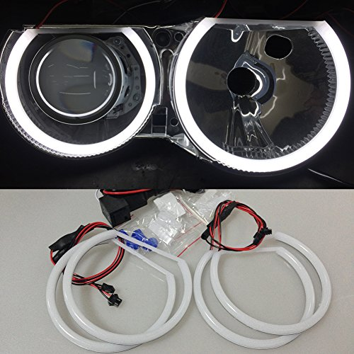 Csslyzl White 6500K Halo Rings Cotton Light SMD LED Angel Eyes Halo Rings Compatible/Replacement for E46 3 Series Halogen Non Projector Headlight (2X 146mm+2X 131mm)