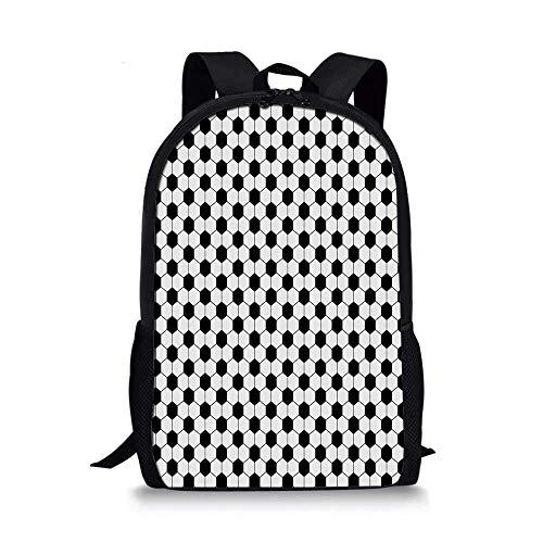 AOOEDM Soccer Stylish School Bag,Abstract Football Ball Pattern Monochrome Geometric Design Sports Fun Activity Decorative for Boys,11''L x 5''W x 17''H