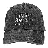 FUGVO ACDC-Back en Negro Sombreros Unisex Cool Casquette Sombreros de Hip Hop Ajustables Vintage Negro