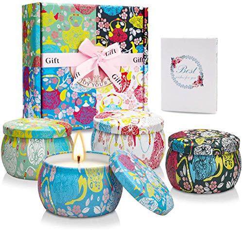 YMing Duftkerzen Geschenkset, natürliches Sojawachs 4,4 Unzen Zinnkerzen Geschenk für Frauen mit stark duftenden ätherischen Ölen für Entspannung und Aromatherapie - 4er Pack