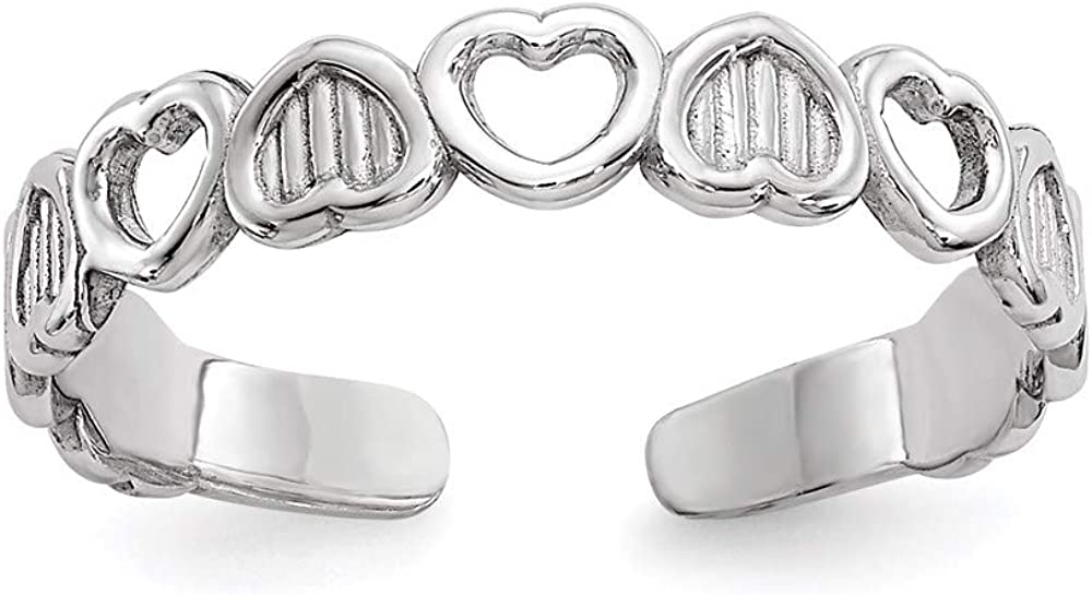 14k White Gold Hearts Adjustable Cute Toe Ring Set Fine Jewelry For Women Gifts For Her