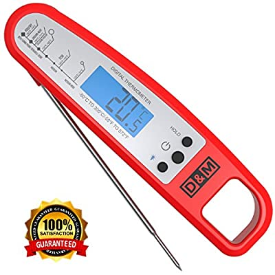 D&M Digital Meat Thermometer - Instant Read & Foldable - Ideal as Internal Meat Thermometer, Grill Thermometer, Cooking or Kitchen Thermometer - Food-safe Sturdy Steel Meat Thermometer Probe