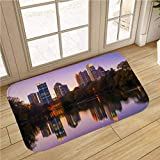 MinGz American Bathroom Rug Carpet, Non Slip Absorbent Super Cozy,Midtown Atlanta Skyline and Lake at Dusk,for Tub, Shower, Bath Room, Doorway,16x24 in