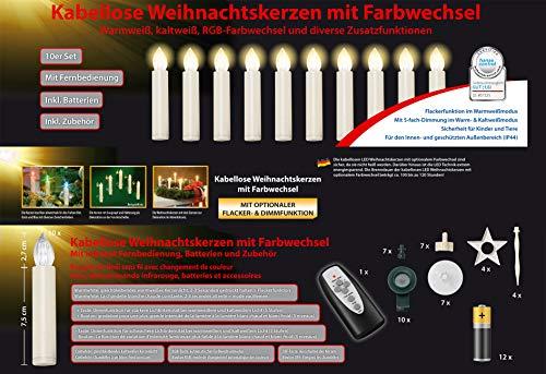 InnoCom GmbH 10 Weihnachtsbaumkerzen - Weihnachtskerzen kabellos Timer Zubehör Dimmfunktion Flacker-Modus optionaler Farbwechsel Batterien Weihnachtsbeleuchtung für Innen & geschützten Außenbereich