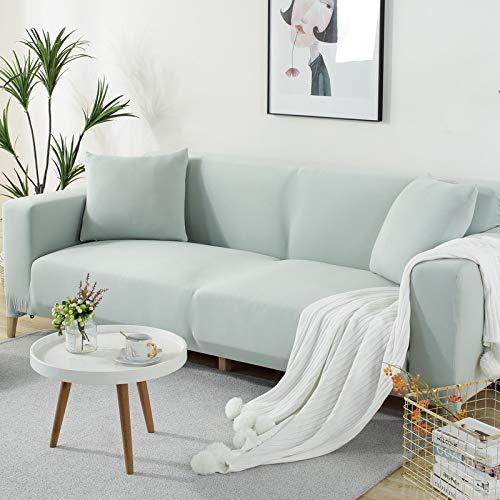 Elastische All-Inclusive-Anti-Rutsch-Doppellage in elegantem Grün,Market Heavy Duty Baumwolle Hellgrau Sofa-Abdeckung Ersatz ist nach Maß für IKEA Schlafsofa mit Chaise Corner, Or Sectional Slipcover