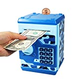 Suliper Baby Toy for Children Electronic Code Lock Piggy Banks Mini ATM Electronic Coin Bank Box for Kids Birthday Gift (Camouflage Blue)
