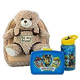 Mochila Infantil con Peluche extraíble, diseño de Oso Milly, la Patrulla Canina y Botella en Azul, Ideal para la guardería o para excursiones Familiares.