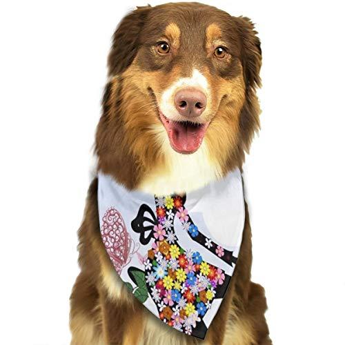 Sitear Meisje Fiets Bloemen Vlinders Hond Kattenhalsdoek Set Geschikt voor Kleine tot Grote Hond Katten