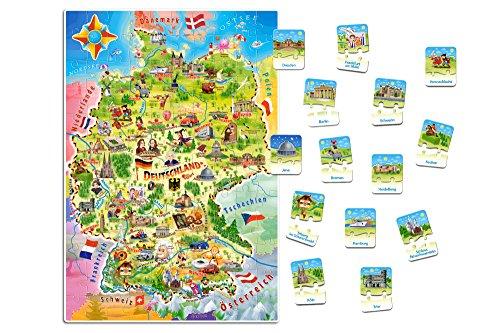 Castorland E-180 Deutschlandkarte, 120 +28 Teile Puzzle, bunt
