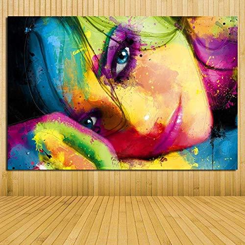 baodanla Frameloze olieverfschilderij Modern Meisjes afbeelding Canvas Ng Abstract figuur Kunstdruk op Canavs Muurposter en druk W