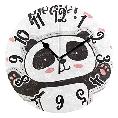 Promini Cute Panda Bear Animals Wooden Wall Clock 12Inch Silent Battery Operated Non Ticking Wall Clock Vintage Wall Decor for Kitchen, Living Room, Bedroom, School, or Office