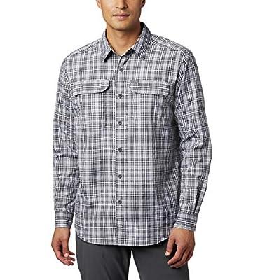 Columbia Men's Silver Ridge 2.0 Plaid Long Sleeve Shirt, Uv Sun Protection, Black Gingham, Medium