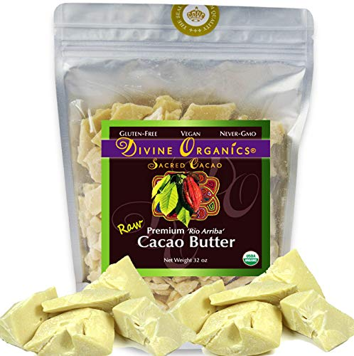 Divine Organics Raw Cacao Butter / Cocoa Butter - Certified Organic - Food Grade - Edible - Fragrant, Natural Skin Moisturizer (32 oz)