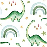 HaokHome 99026 Peel and Stick Wallpaper Cute Dinosaur Rainbow Raindrop White/Green Removable for Nursery Kids Bedroom Decorations 17.7in x 118in