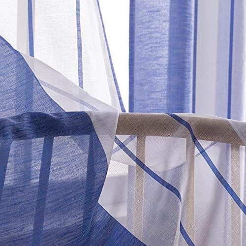 Cortinas Transparentes a Rayas para Vivir, Cortinas de Tul Bedom para la Cocina, Cortinas de Tratamiento de Ventanas con Acabado Moderno, Azul, Ancho 600 cm x Largo 250 cm, Bolsillo 1.D