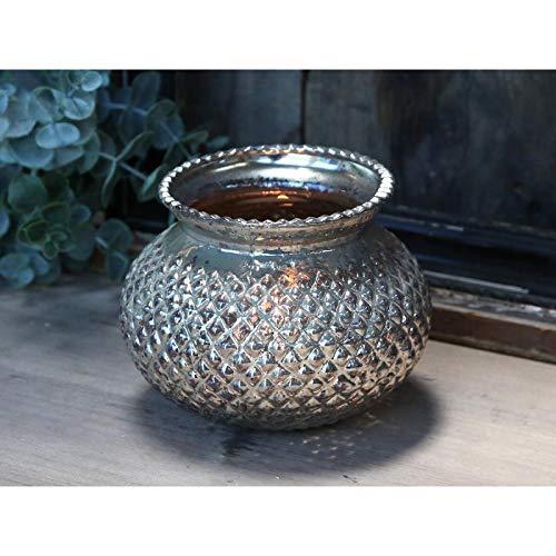 Chic Antique Windlicht Hurricane Bauernsilber Glas Silber Teelicht Kerzenhalter Landhaus French Shabby Chic